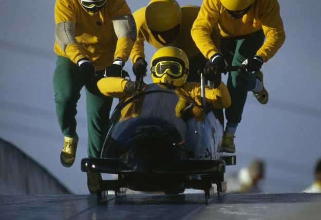 CALGARY - FEBRUARY 25: The Jamaican four man bobsleigh team in action at the 1988 Calgary Winter Olympic Games held on February 25, 1988 in Calgary, Canada.