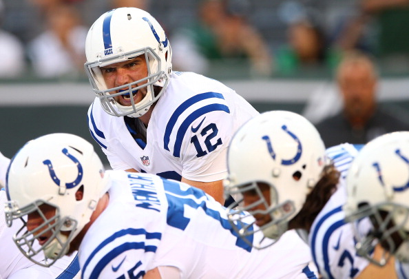 Quarterback Andrew Luck #12 of the Indianapolis Colts warms up prior to a preseason game against the New York Jets at MetLife Stadium on August 7, 2014 in East Rutherford, New Jersey.  (Photo by Elsa/Getty Images)